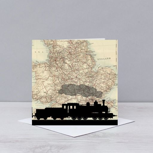 Train Silhouette Over Map Of England