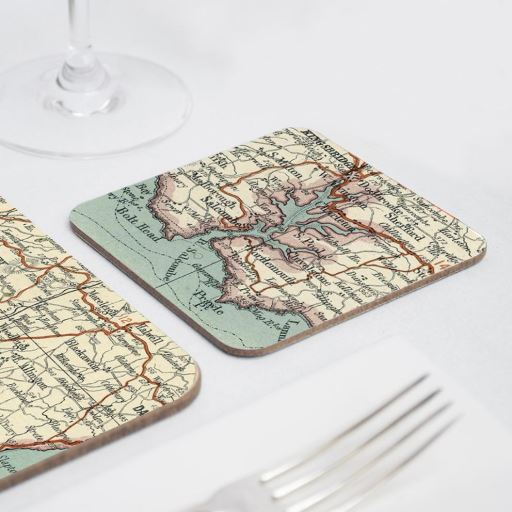 Personalised Vintage Map Coasters