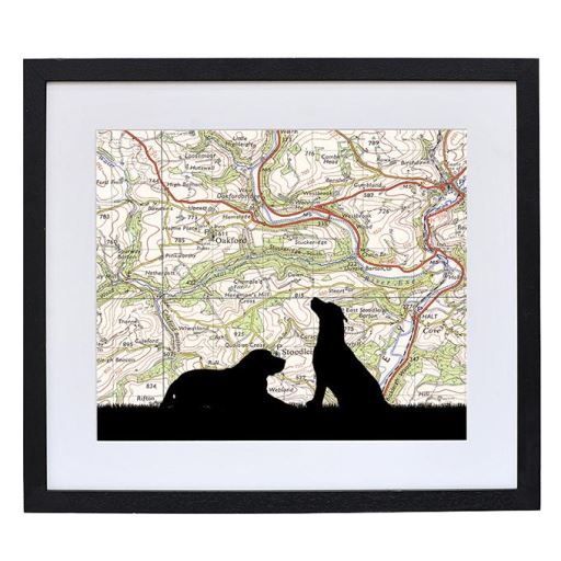 Dog Portrait Print with Personalised Map