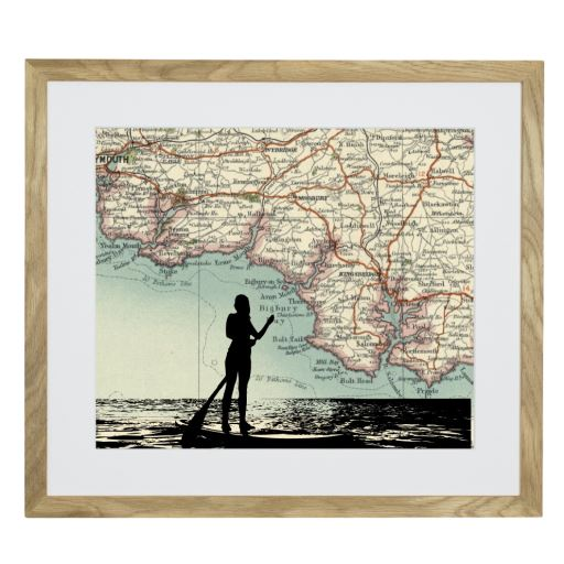 Paddleboarding Print with Personalised Map