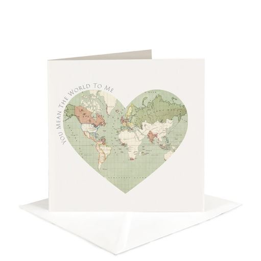 Father's Day Map Heart Card