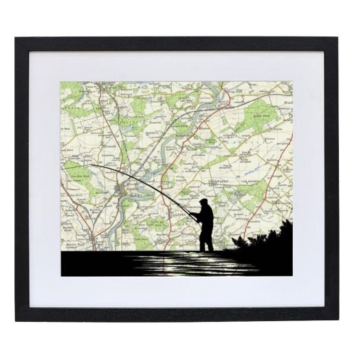 Fishing Print with Personalised Map