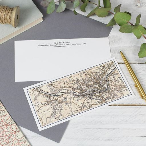 Personalised Map Correspondence Cards