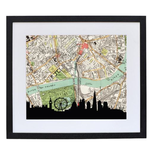 London Skyline Print with Personalised Map