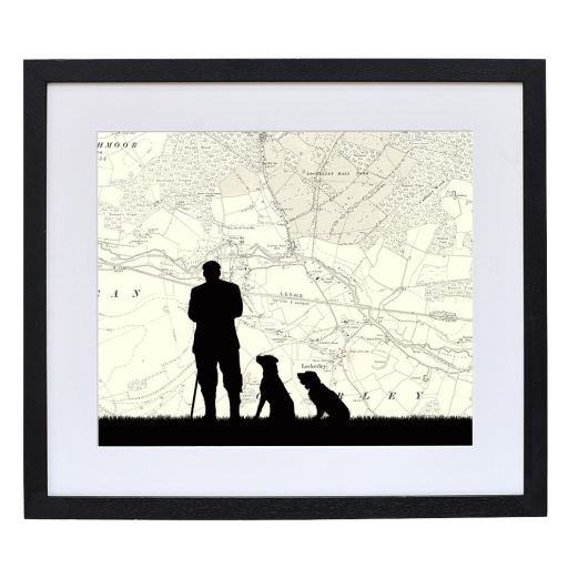 Man & Dogs Print with Personalised Map