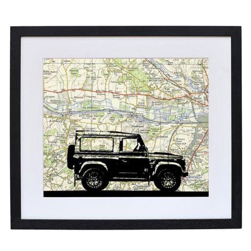Land Rover Print with Personalised Map