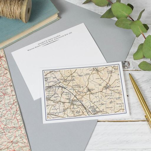 Personalised Vintage Map Postcards