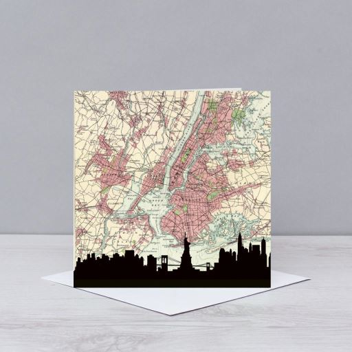 New York Skyline Map Card