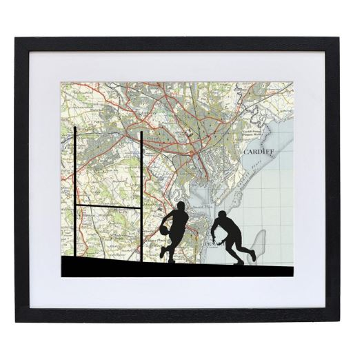 Rugby Print with Personalised Map