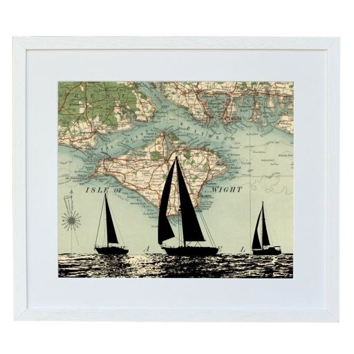 Boat Print with Personalised Map