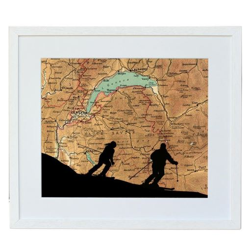 Skiing Print with Personalised Map