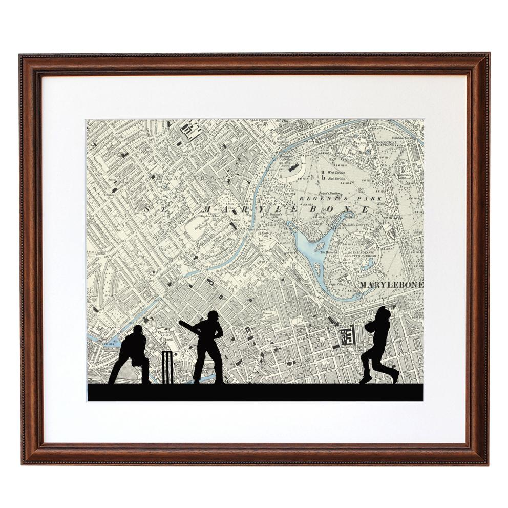 Personalised Map Cricket Print