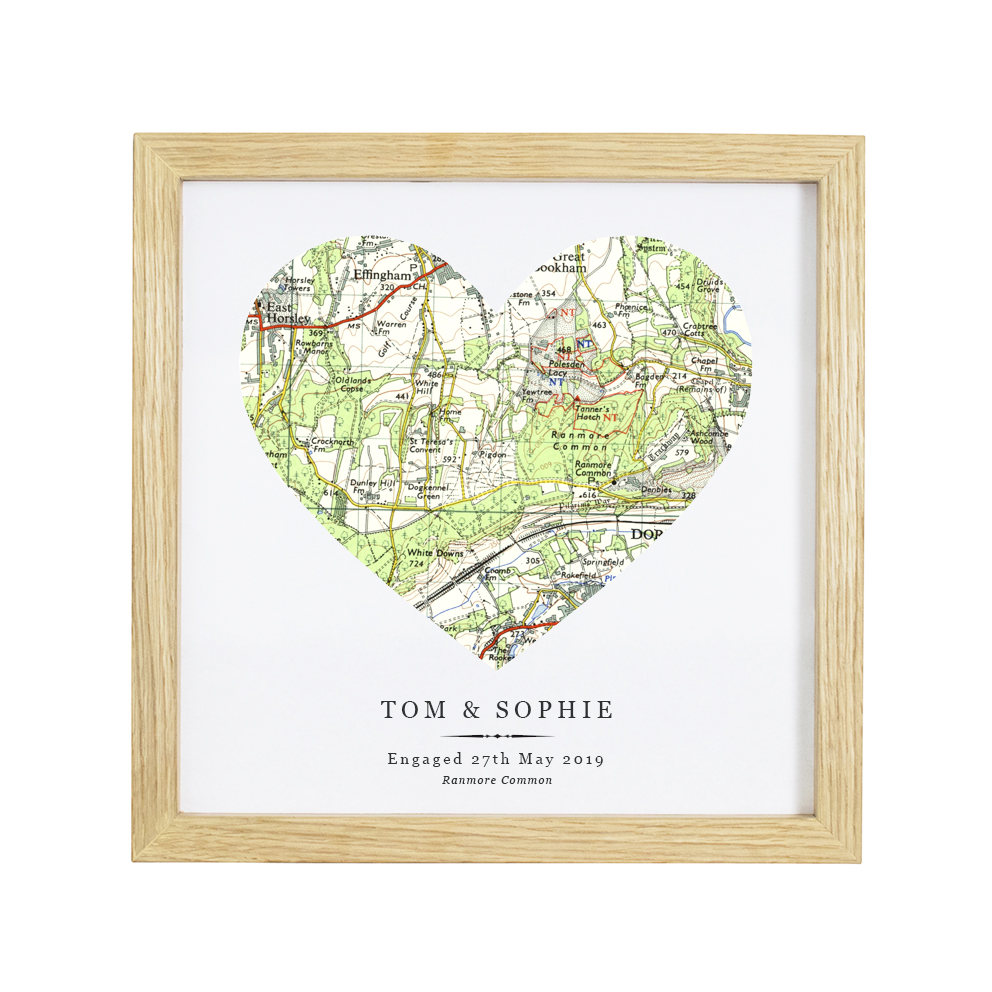 Personalised Vintage Map Heart Print