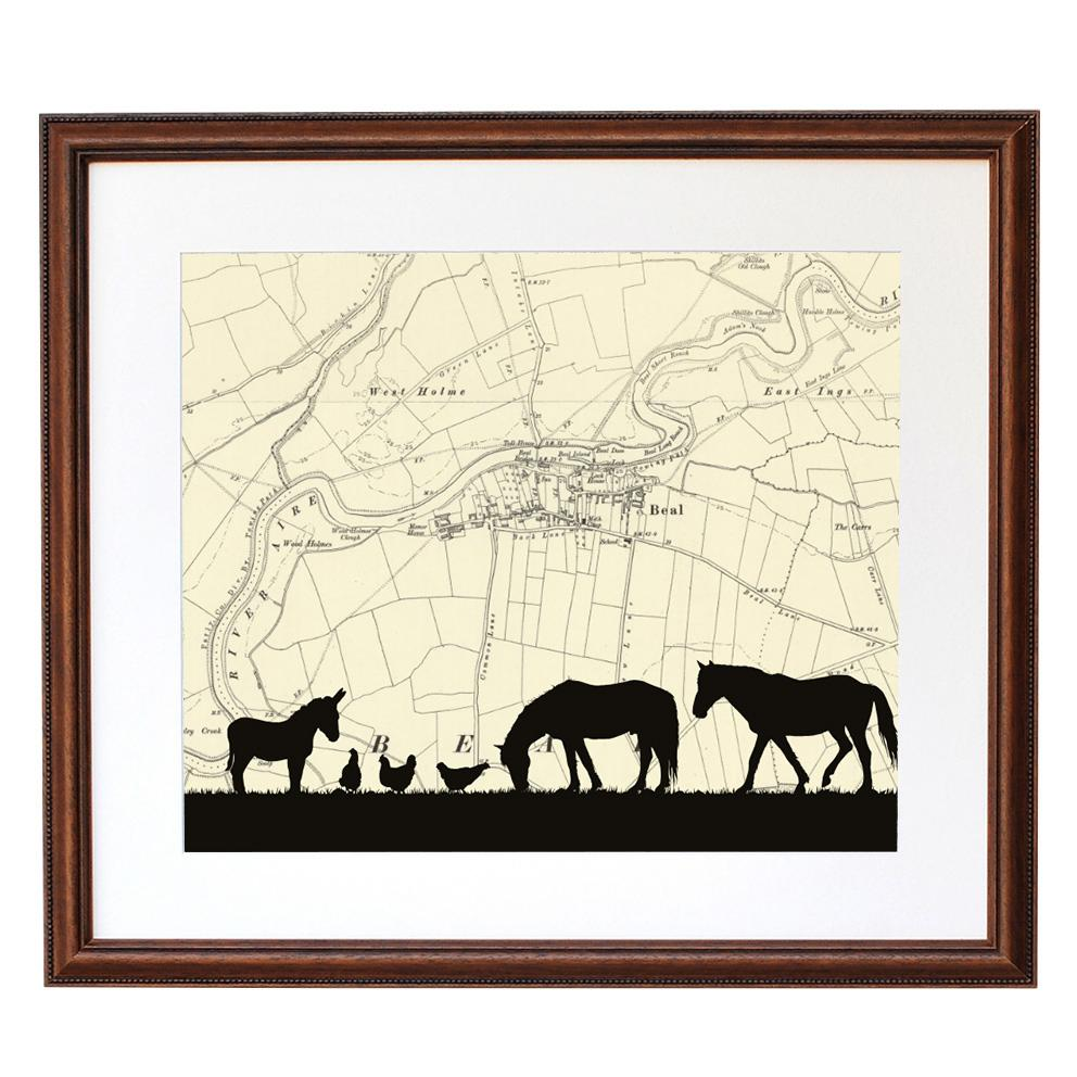 Personalised Map Horse Silhouette