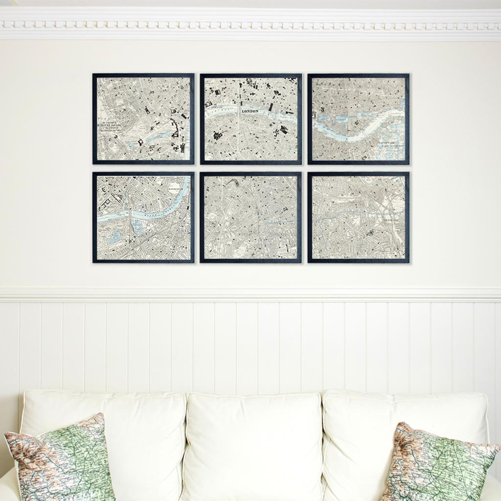 Six panel wall map