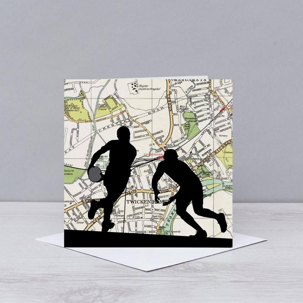 Rugby Players Over Twickenham Card