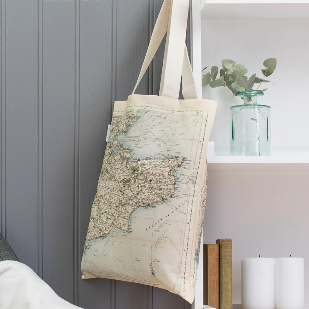Surrey, Sussex, London and Kent Vintage Map Canvas Bag