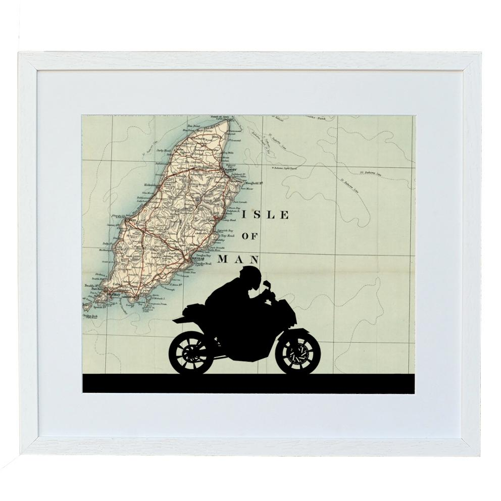 Personalised Map Motorbike Print