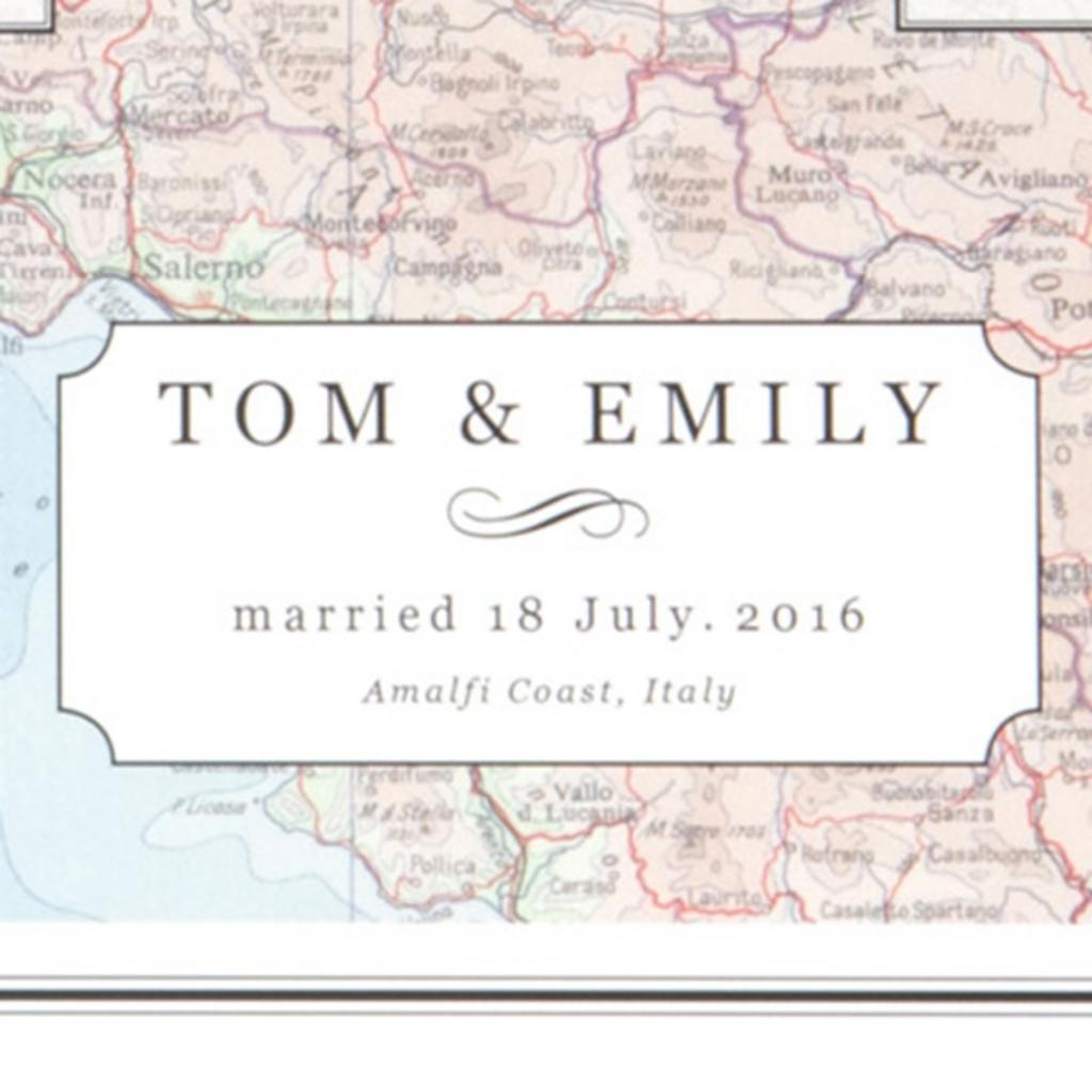 Personalised Couples Initial Map Print