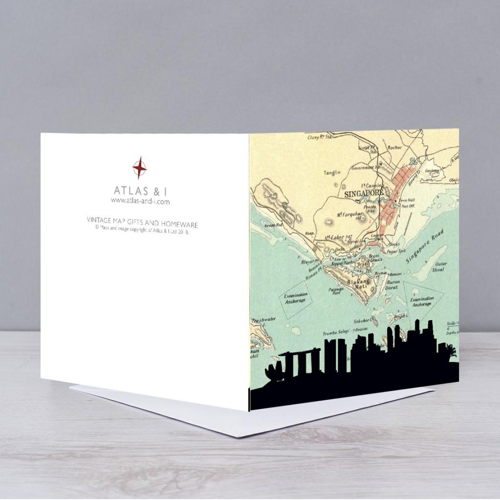 Singapore Skyline Map Card