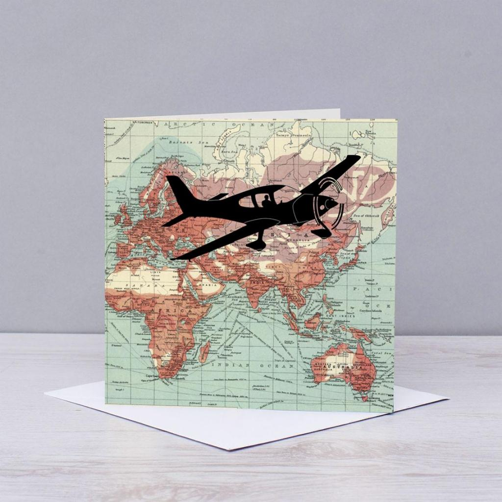 Flying Plane over World Map