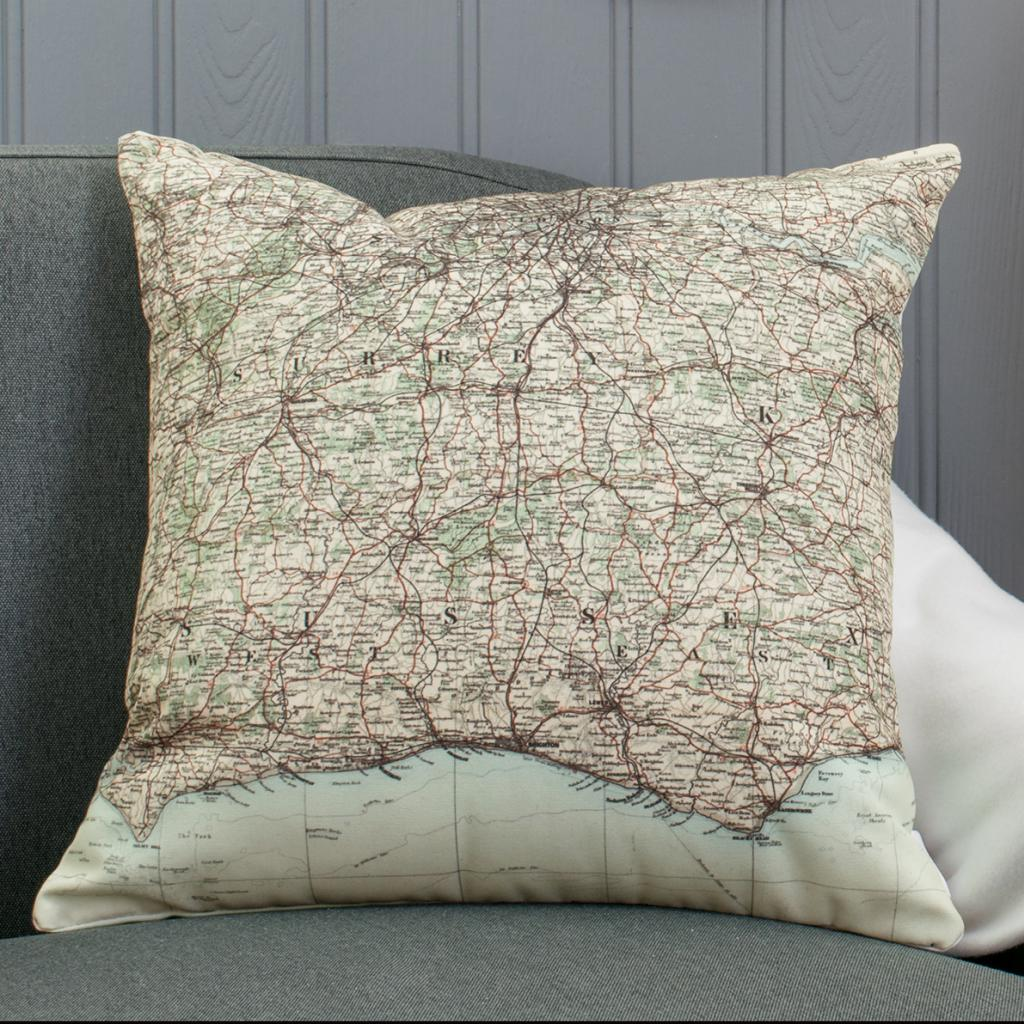 Surrey, Sussex, London and Kent Map Cushion