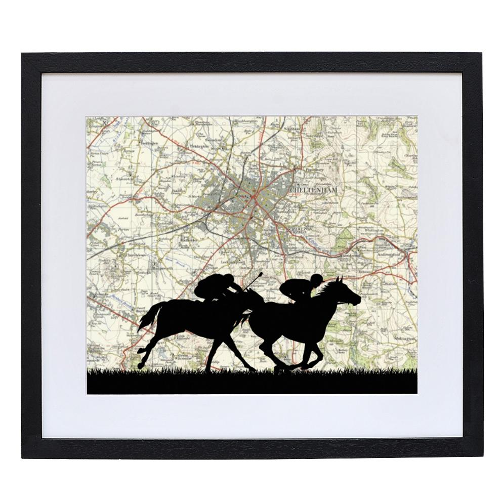 Horse Racing Print with Personalised Map