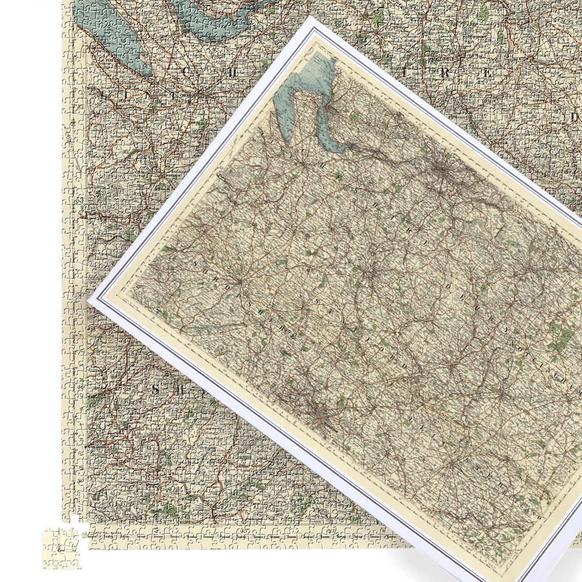 Antique Map Puzzle - Cheshire, Derby, Shropshire, Stafford, Nottingham & Leicester