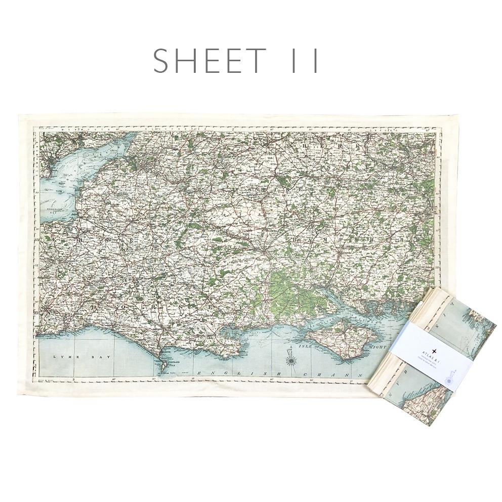UK Counties Vintage Map Tea Towel