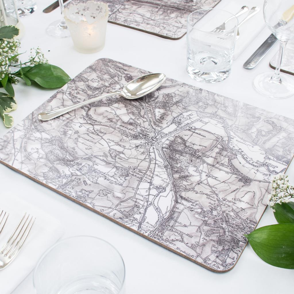 Personalised Vintage Map Serving Mat