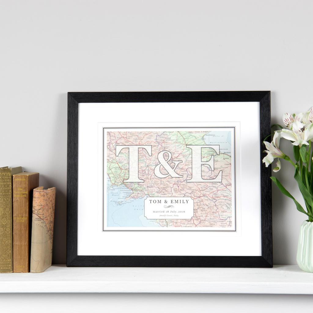 Couples Initial Map Print