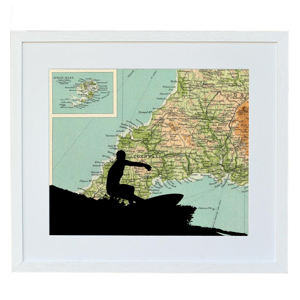 Surfing Print with Personalised Map