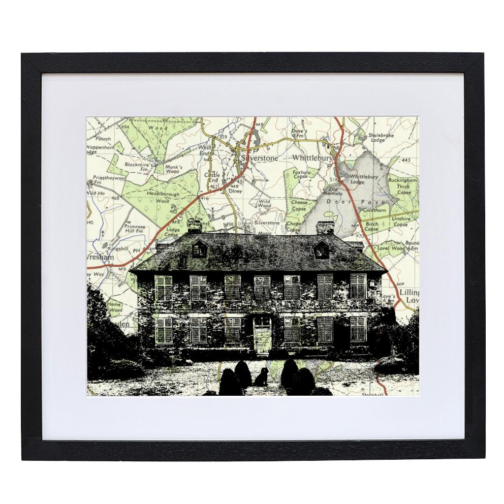 Personalised House Portrait over Vintage Map