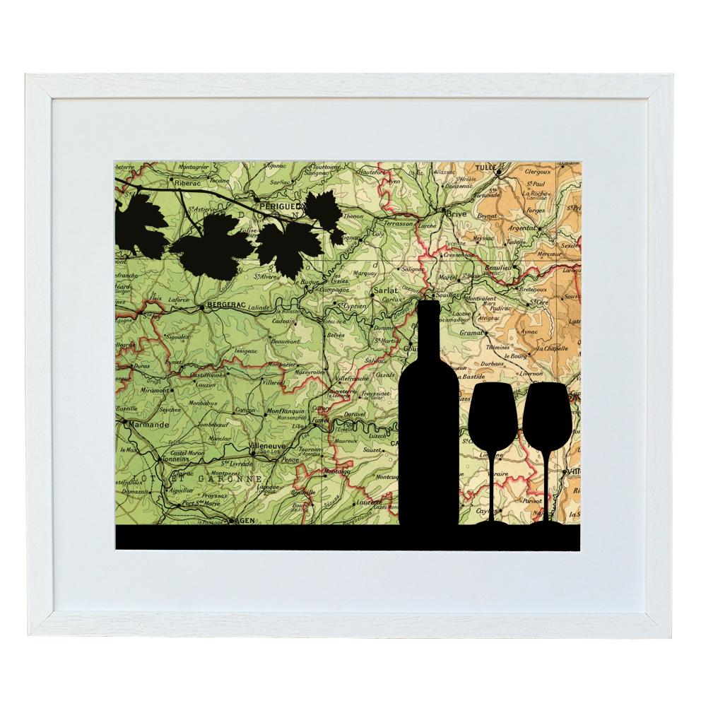 Wine Bottle Silhouette with Personalised Map