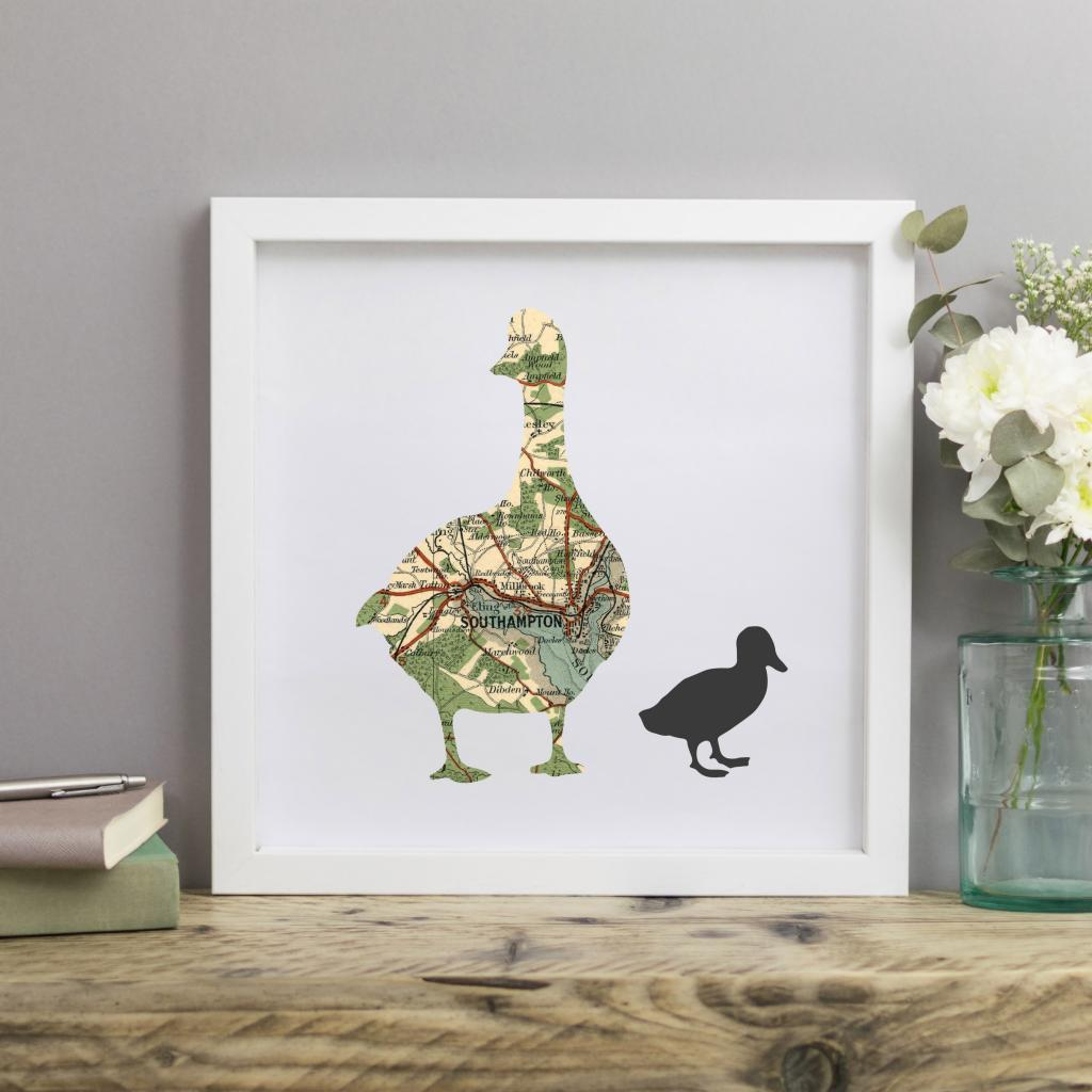 Personalised Vintage Map Mother Duck Print