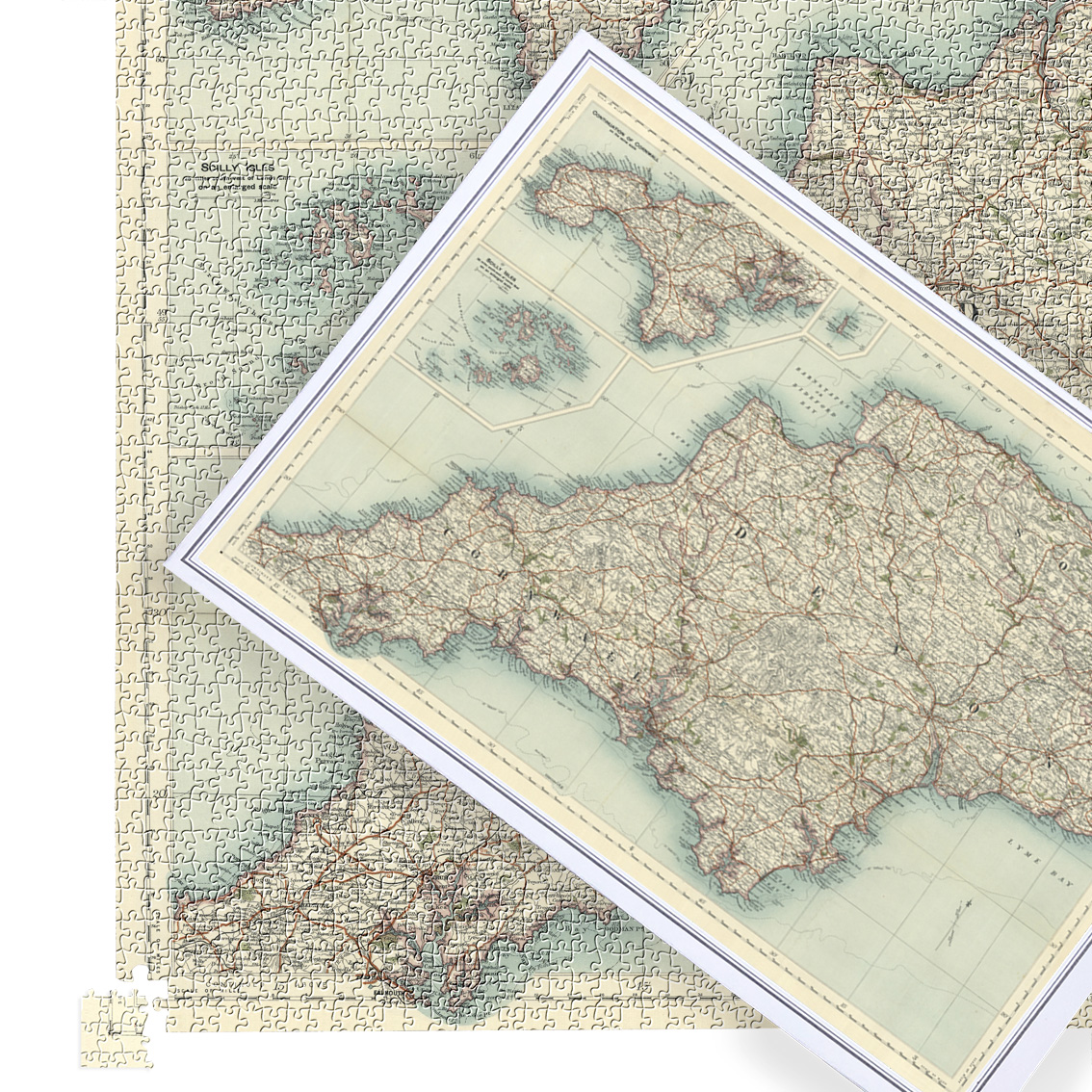 Antique Map Puzzle - Devon, Cornwall & Somerset