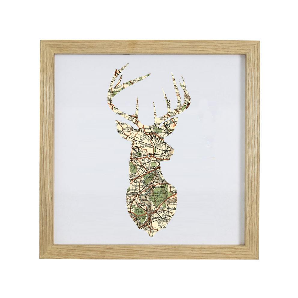 Personalised Vintage Map Stags Head Print