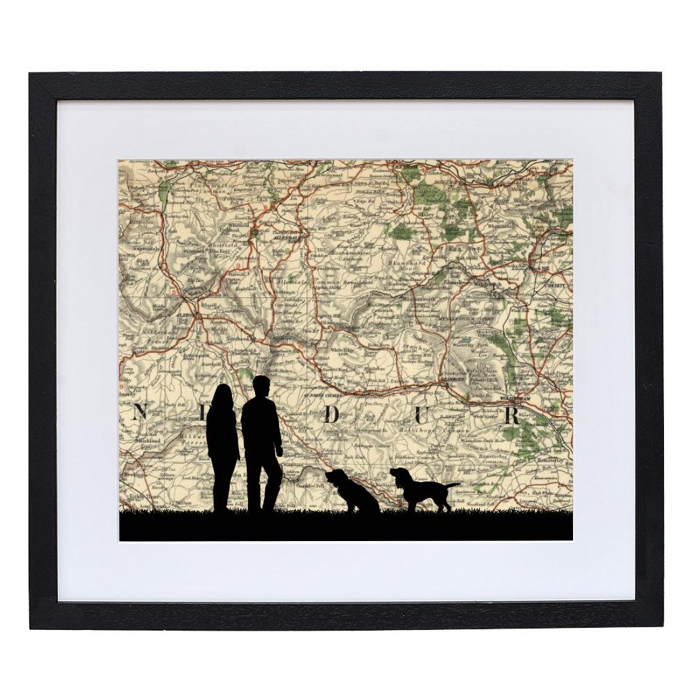 Personalised Walking Silhouette With Vintage Map