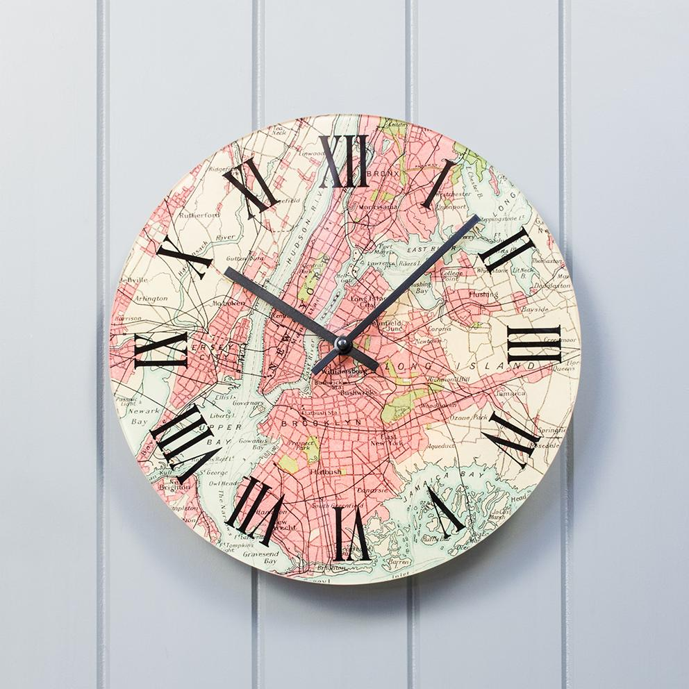 Personalised Vintage Map Clock