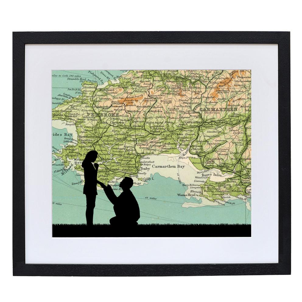 Engagement Print with Personalised Map