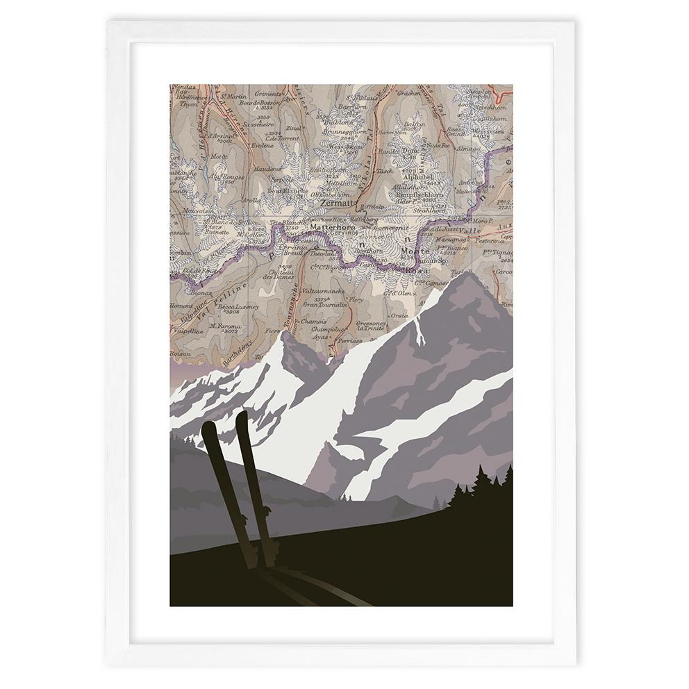 Vintage Map Poster with Mountains