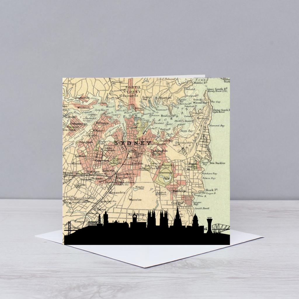 Sydney Skyline Map Card