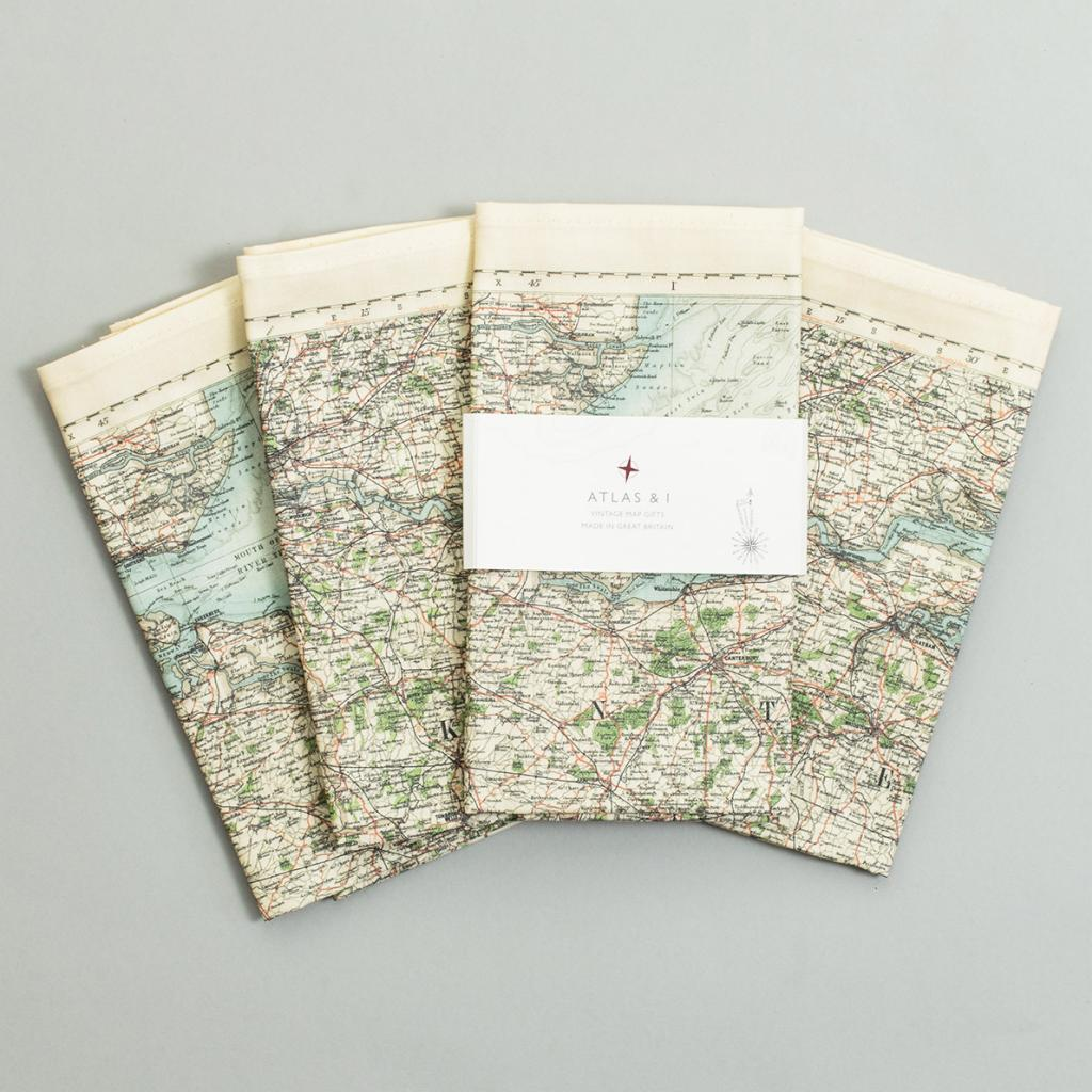Surrey, Sussex, London and Kent Vintage Map Napkins - Set of 4