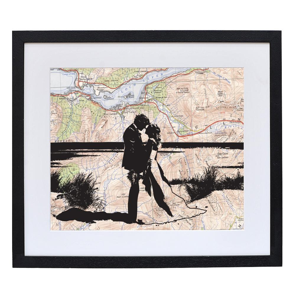 Personalised Couple Portrait Over Vintage Map