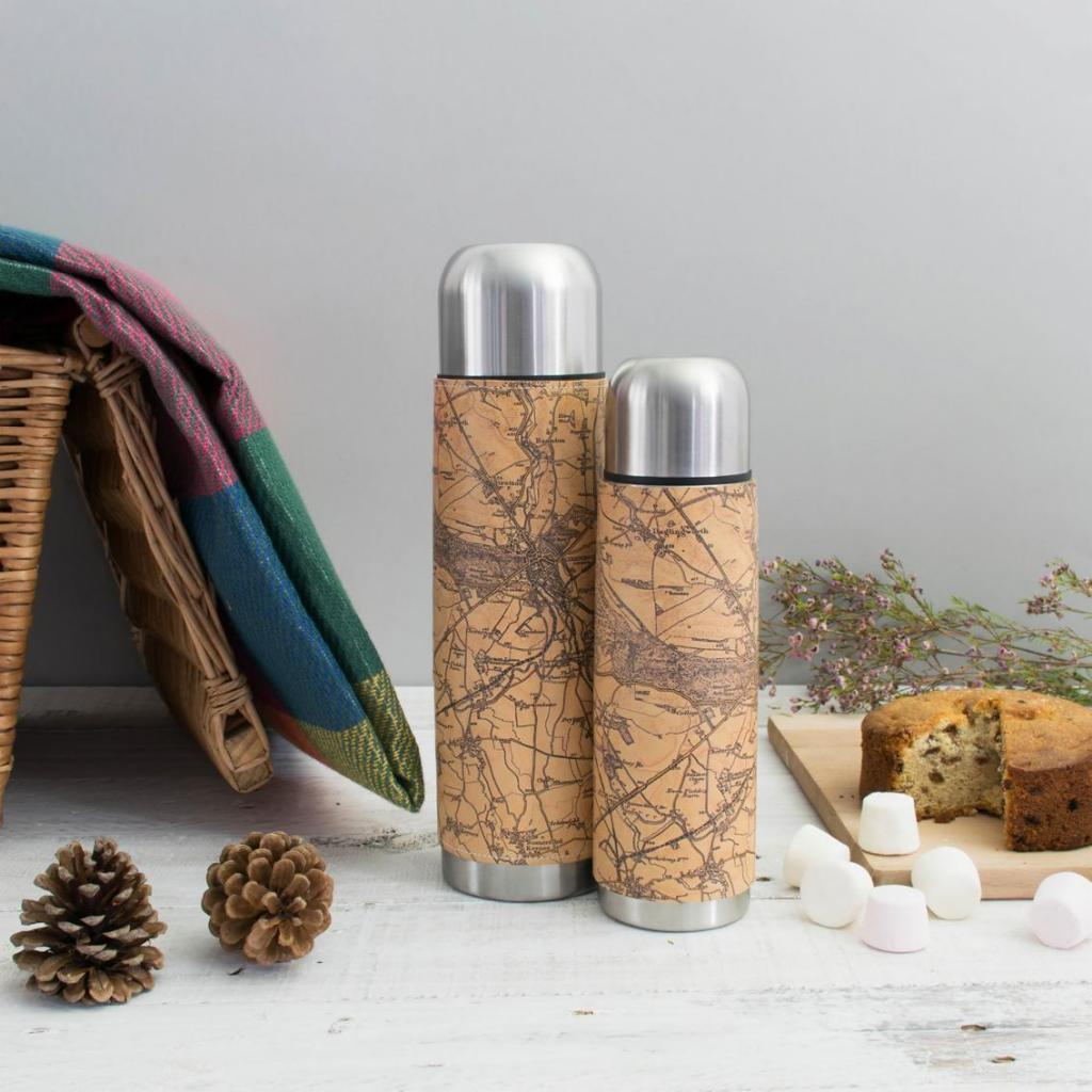 Personalised Vintage Map Leather Thermos