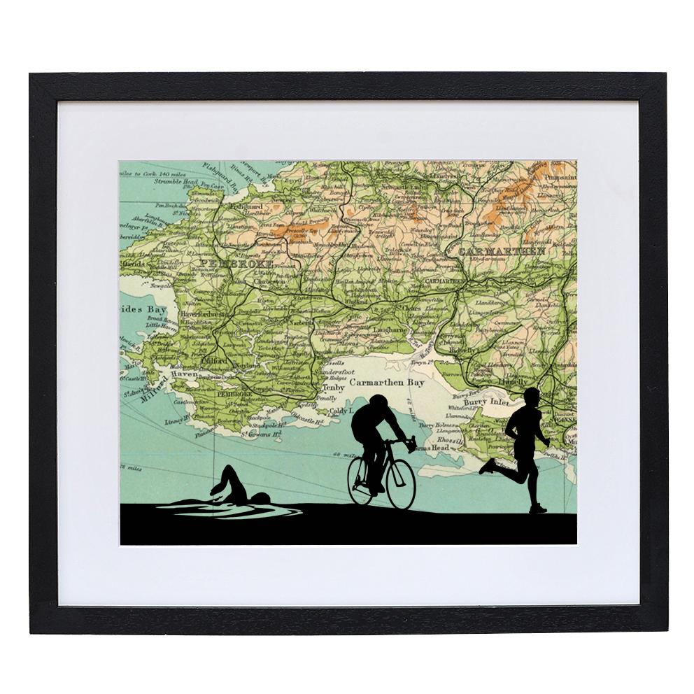 Triathlon Print with Personalised Map