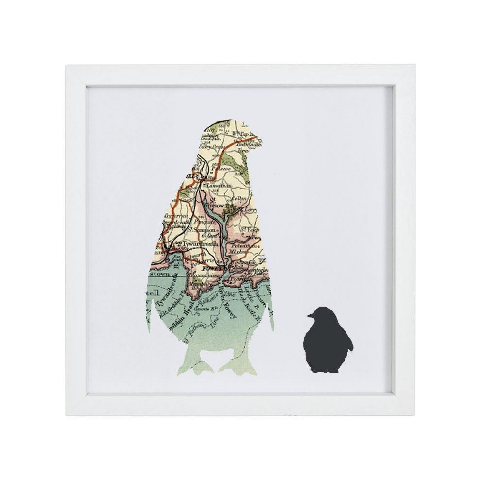 Personalised Vintage Map Penguin & Chick Print