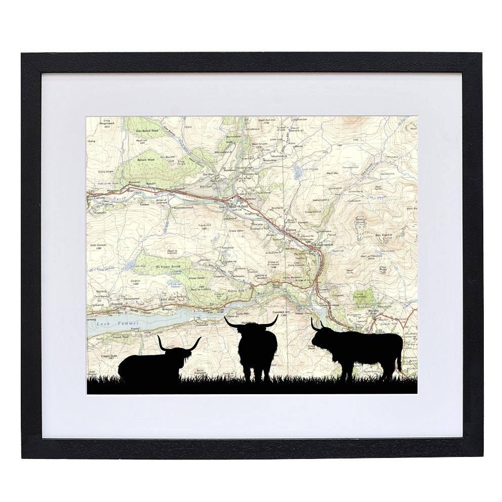Highland Cattle Print with Personalised Map