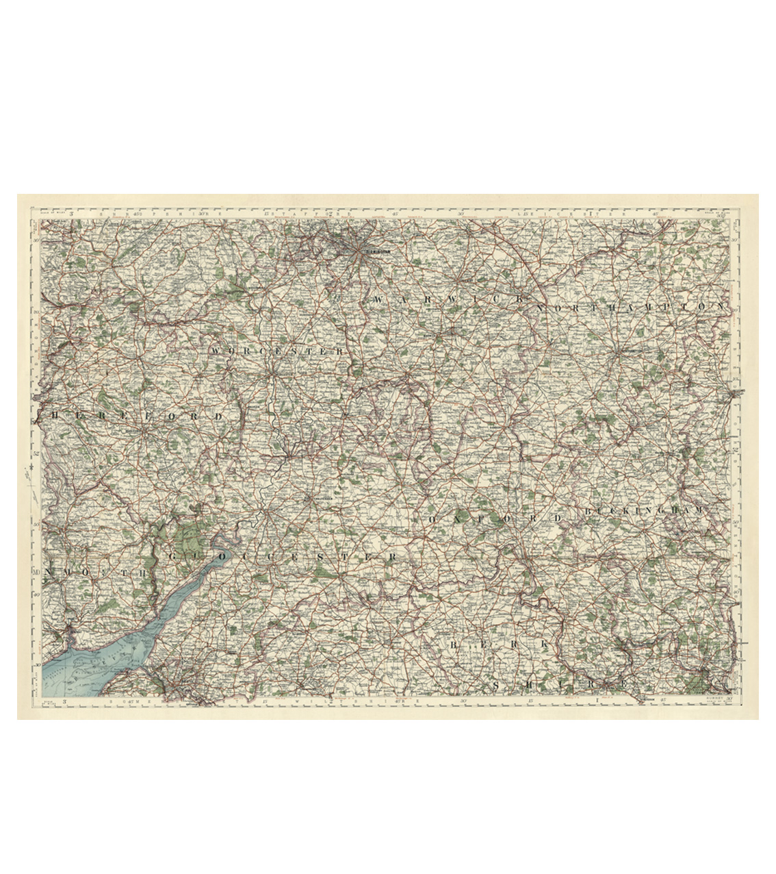 Antique Map Puzzle - Gloucestershire, Warwick, Oxford, Bristol & Hereford