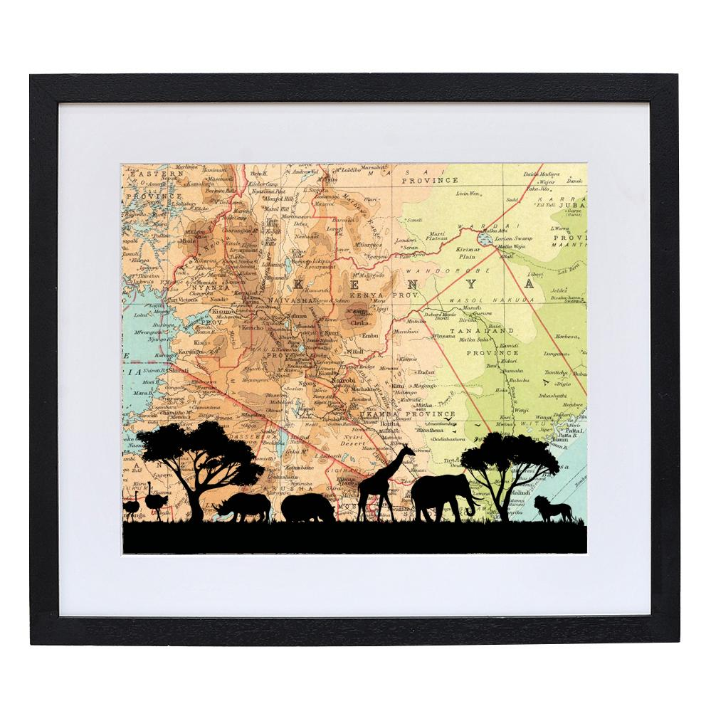 Safari Animals Print with Personalised Map